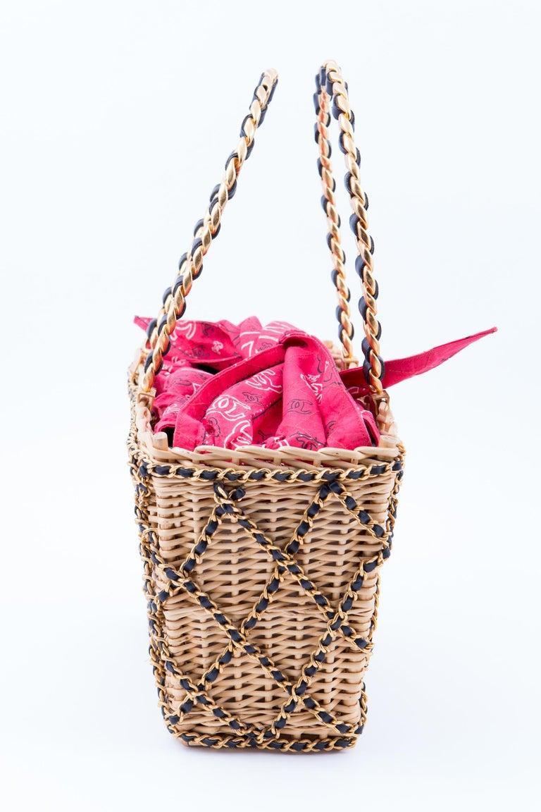 Black Chanel Catwalk Basket Bag, Spring / Summer 1990s For Sale