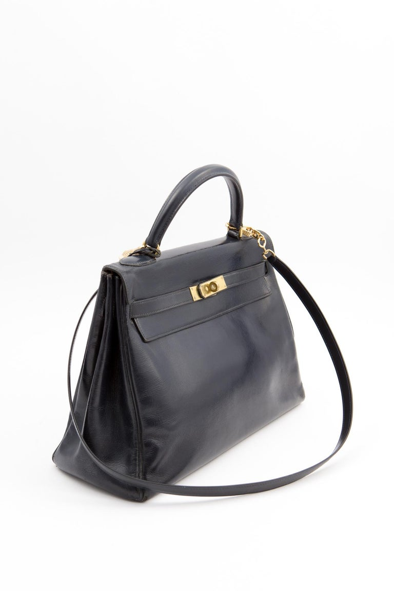 Black Hermes Navy Box Calf Kelly Tote Bag, 1960s  For Sale