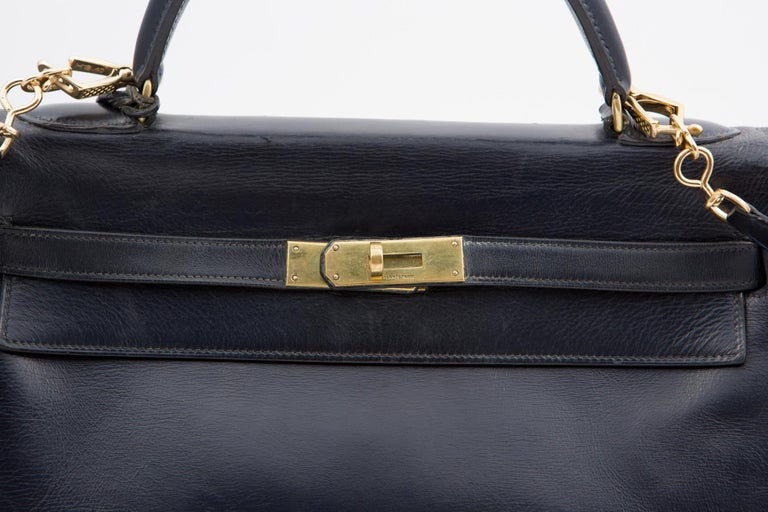 Women's or Men's Hermes Navy Box Calf Kelly Tote Bag, 1960s  For Sale