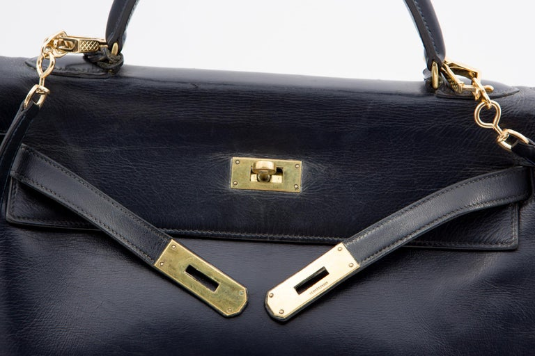 Hermes Navy Box Calf Kelly Tote Bag, 1960s  For Sale 1
