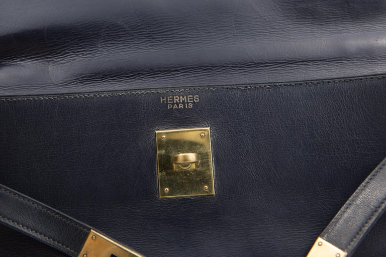 Hermes Navy Box Calf Kelly Tote Bag, 1960s  For Sale 2