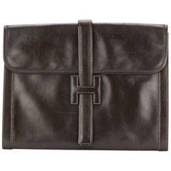 Hermes  Large Jige Chocolate Box Leather Clutch