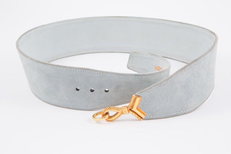 Orange Hermes Light Sky Blue Suede Cordeaux Belt  For Sale