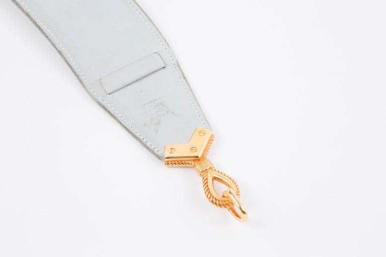 Hermes Light Sky Blue Suede Cordeaux Belt  In Good Condition For Sale In Paris, FR