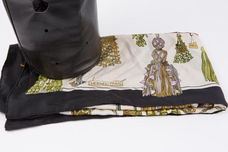 Hermes Black Box Calf Mangeoire Tote Bag and Hermès Passementerie Silk Scarf For Sale 5