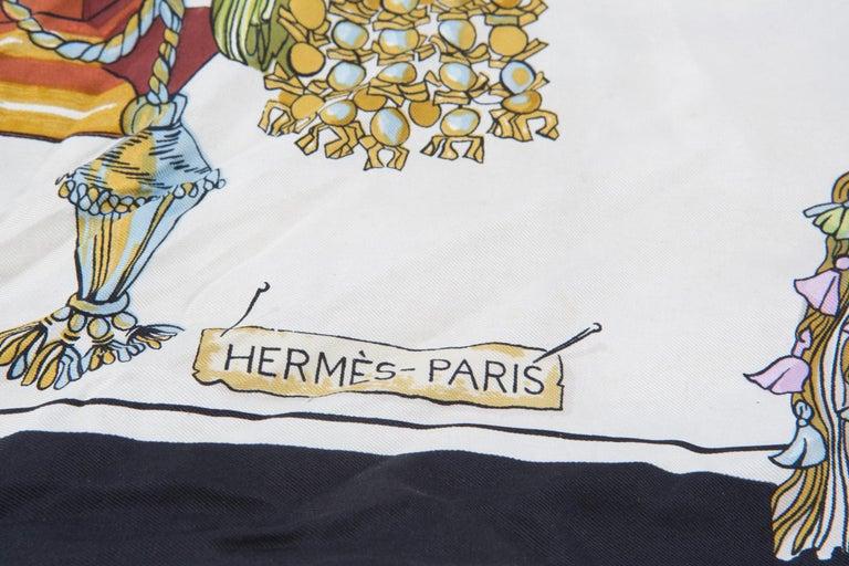 Hermes Black Box Calf Mangeoire Tote Bag and Hermès Passementerie Silk Scarf For Sale 6