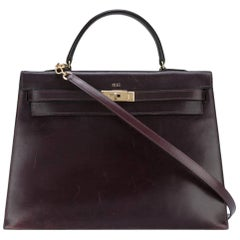 Hermes Cassis Box Calf Kelly 35cm Tote Bag