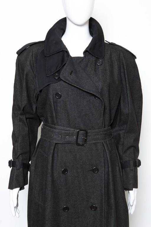 1980s Gorgeous Yves Saint Laurent Black Denim Trench 2