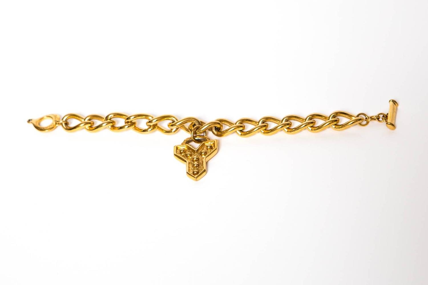 1980s yves saint laurent gold tone bracelet at 1stdibs - Bracelet yves saint laurent ...