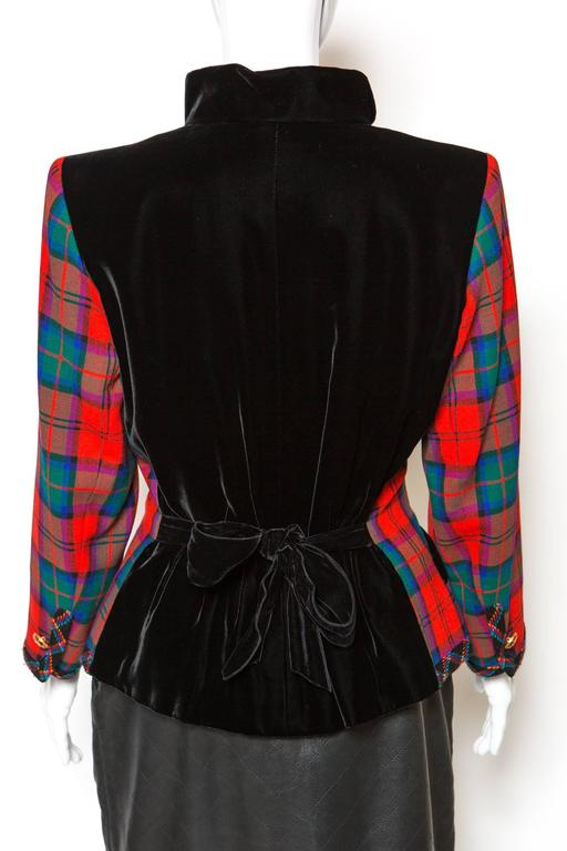 1994s Yves Saint Laurent Collector Red and Green Wool Tartan Jacket 4