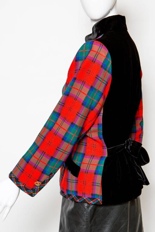 1994s Yves Saint Laurent Collector Red and Green Wool Tartan Jacket 3