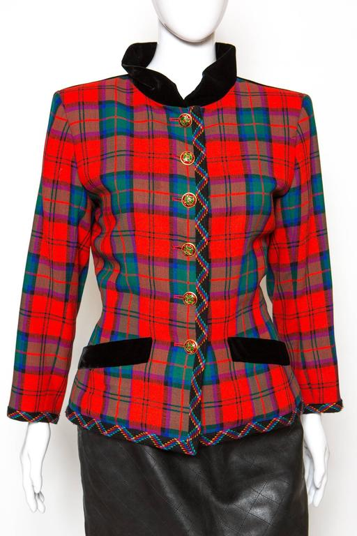 1994s Yves Saint Laurent Collector Red and Green Wool Tartan Jacket 2