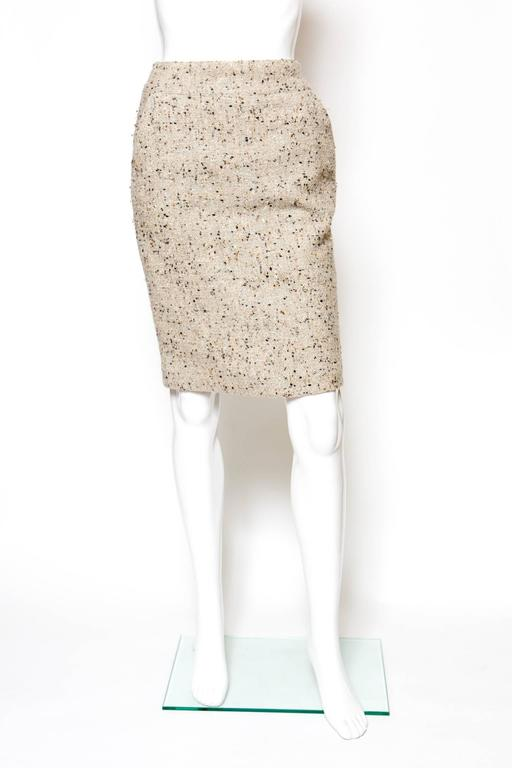 Chanel Camel Tweed and Lurex Skirt 2