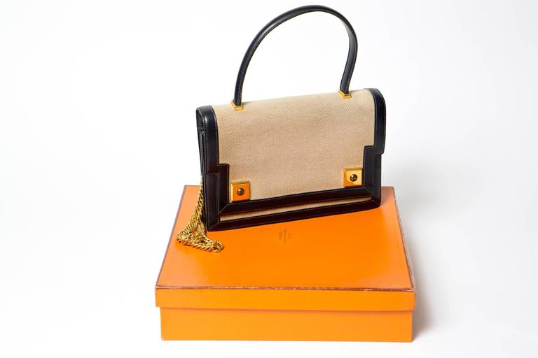9eca3a997b Women s 1960s Vintage Hermes Piano Bag Bi-Color Navy Box Leather and Beige  Toile For