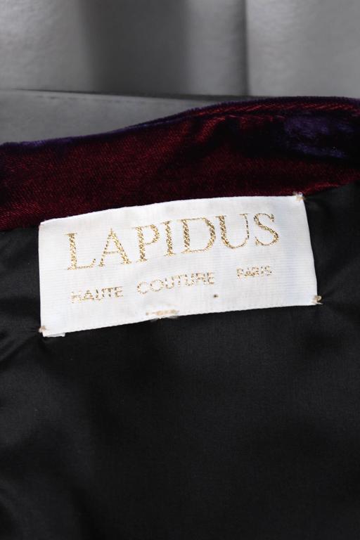 1980s Lapidus Haute Couture Plum Velvet and Taffeta Evening Gown For Sale 5