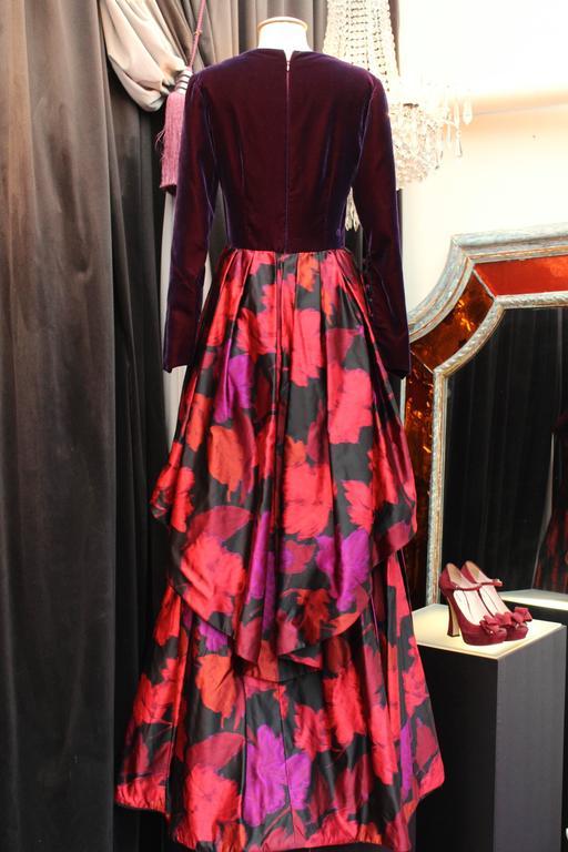 Black 1980s Lapidus Haute Couture Plum Velvet and Taffeta Evening Gown For Sale