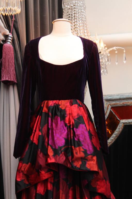 Women's 1980s Lapidus Haute Couture Plum Velvet and Taffeta Evening Gown For Sale