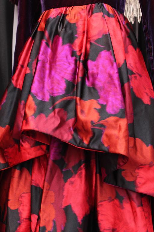 1980s Lapidus Haute Couture Plum Velvet and Taffeta Evening Gown For Sale 1
