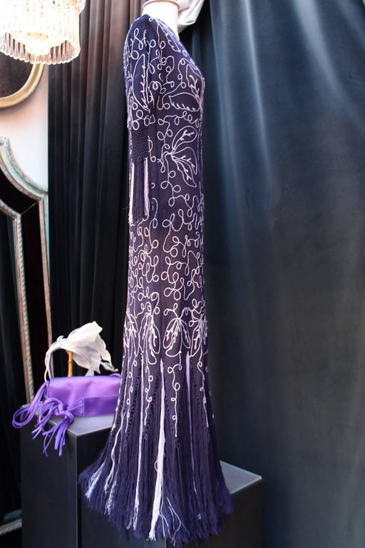 2000s John Galliano Purple Long Knitting Dress In Good Condition For Sale In Paris, FR