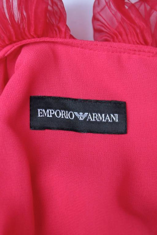 2000s Emporio Armani Fuchsia Mini Cocktail Dress For Sale 4