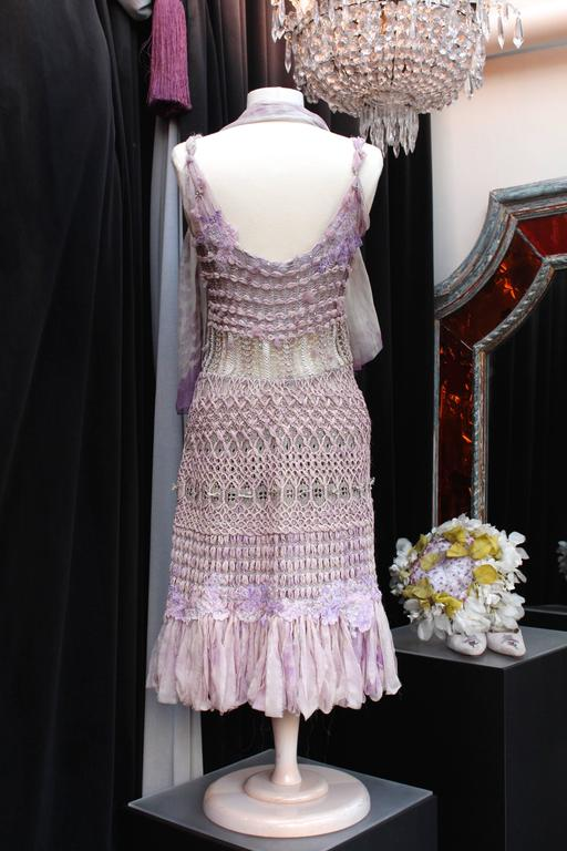 Gray Summer 1996 Christian Lacroix Haute Couture Parma Crochet Dress For Sale
