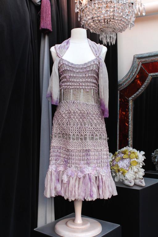 Summer 1996 Christian Lacroix Haute Couture Parma Crochet Dress In Excellent Condition For Sale In Paris, FR