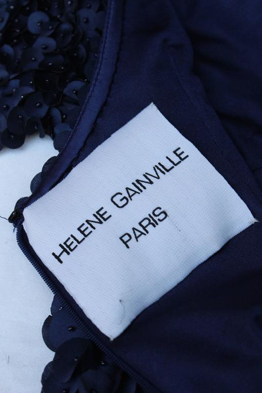 2010s Helene Gainville Paris Dark Blue Silk Petals Evening Gown For Sale 4