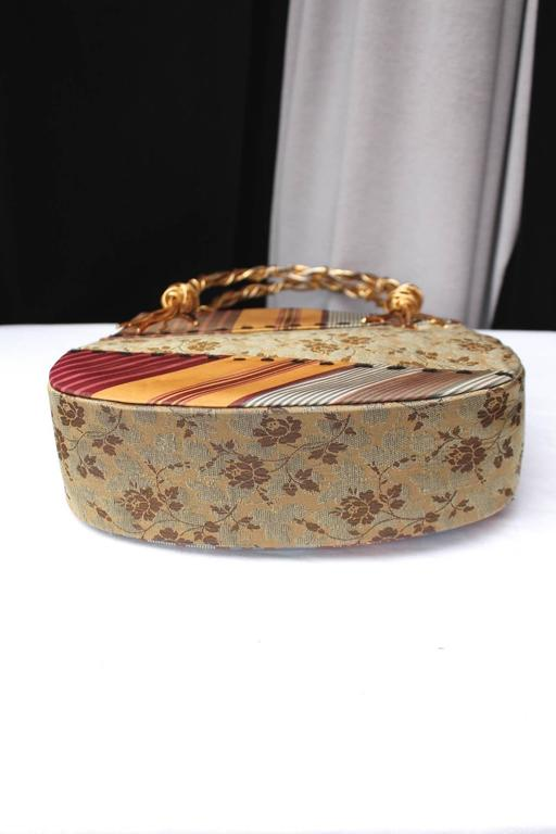 1990s Christian Lacroix Bag with Multicolored Silk and Gilt Bundle Handle 6