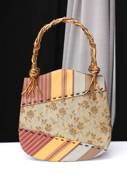 1990s Christian Lacroix Bag with Multicolored Silk and Gilt Bundle Handle 3