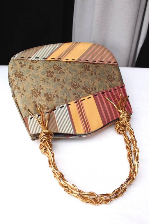 1990s Christian Lacroix Bag with Multicolored Silk and Gilt Bundle Handle 5