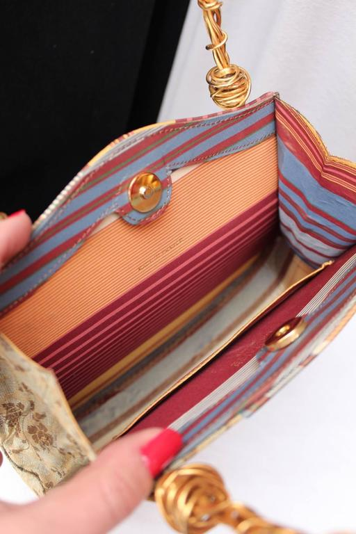 1990s Christian Lacroix Bag with Multicolored Silk and Gilt Bundle Handle 7