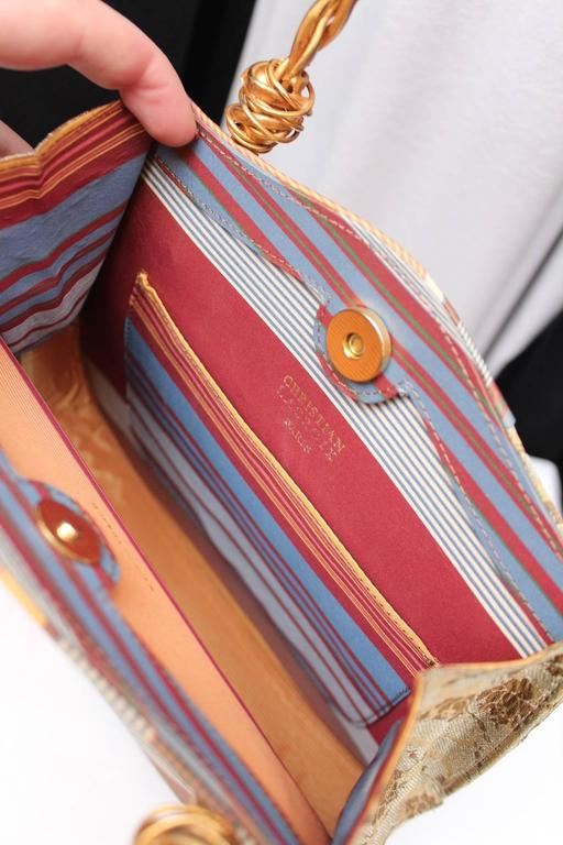 1990s Christian Lacroix Bag with Multicolored Silk and Gilt Bundle Handle 9