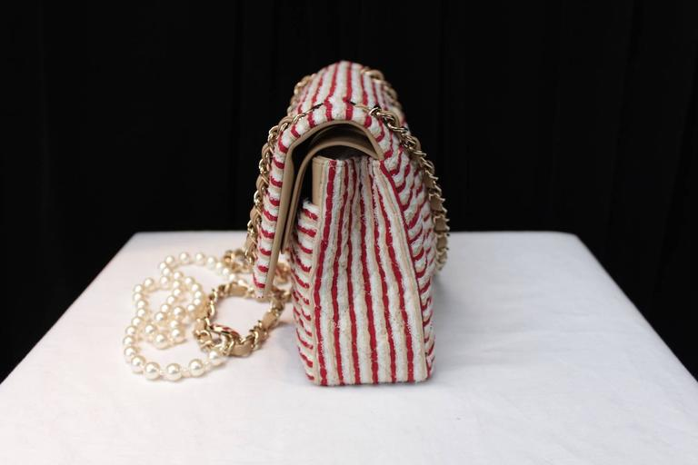 2014 Chanel Timeless White and Red stripes handbag with Faux Pearls Handle 4