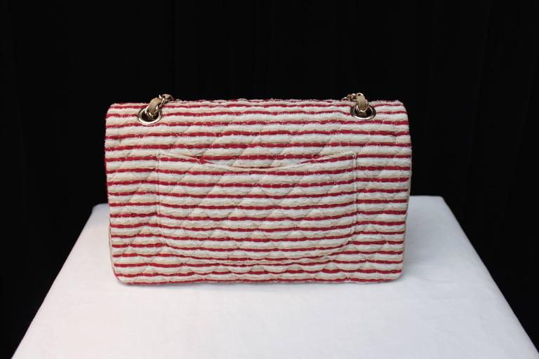 2014 Chanel Timeless White and Red stripes handbag with Faux Pearls Handle 5