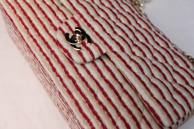 2014 Chanel Timeless White and Red stripes handbag with Faux Pearls Handle For Sale 2