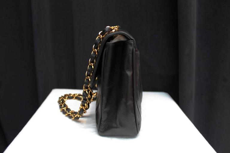 1990s Chanel Black Leather Double Handle Bag In Excellent Condition For Sale In Paris, FR