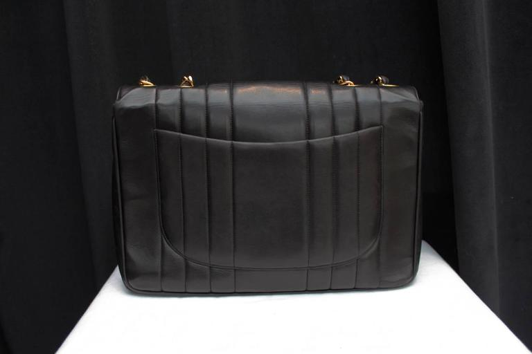 1990s Chanel Black Leather Double Handle Bag 4