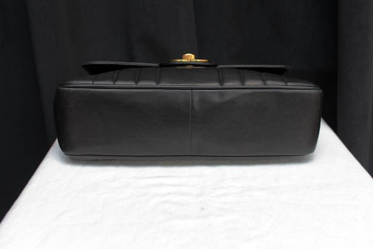 1990s Chanel Black Leather Double Handle Bag For Sale 3