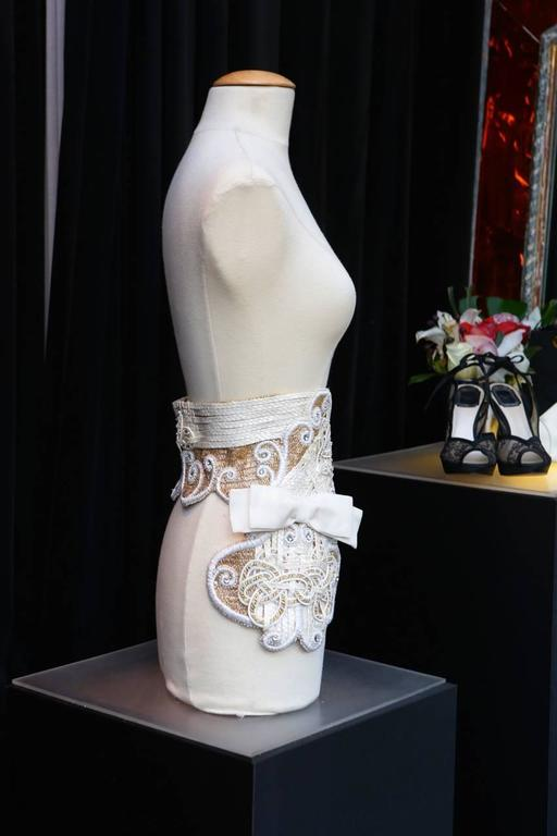 Early 1990s Christian Dior Waistband with Gilt and White Embroideries 5