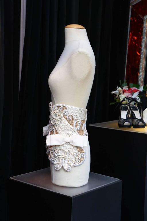 Gray Early 1990s Christian Dior Waistband with Gilt and White Embroideries For Sale