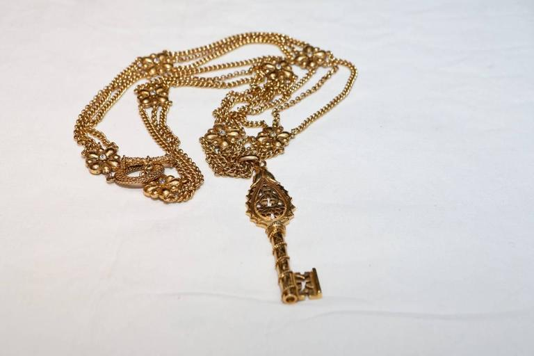 1990s Christian Dior Gilt Chain Necklace with Key Pendant 2
