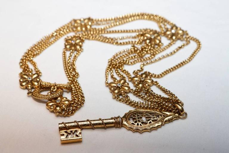 1990s Christian Dior Gilt Chain Necklace with Key Pendant 3