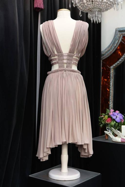 Brown 2000s Alaia Light Pink Greek Style Mini Dress For Sale