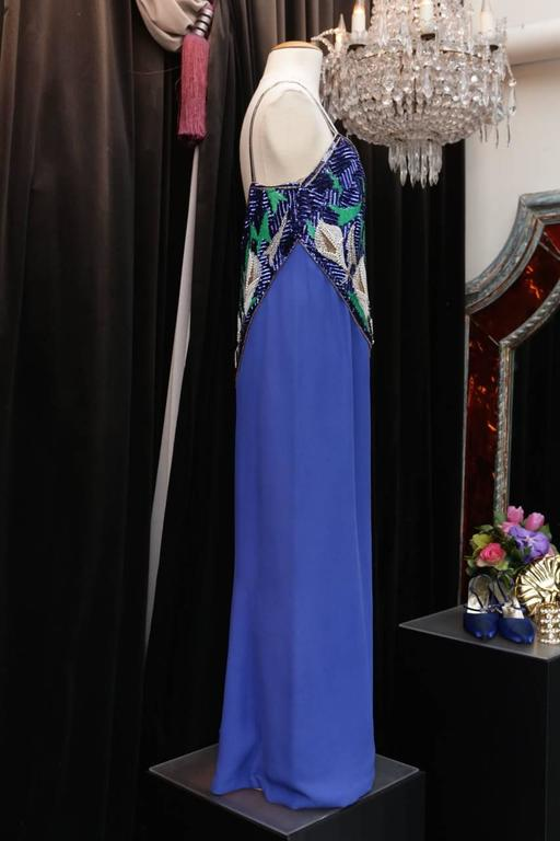 Women's Early 1980s Pierre Balmain Haute Couture Blue Beaded Dress For Sale