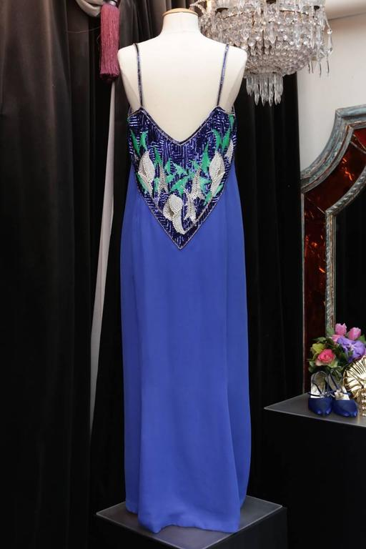 Early 1980s Pierre Balmain Haute Couture Blue Beaded Dress In Excellent Condition For Sale In Paris, FR
