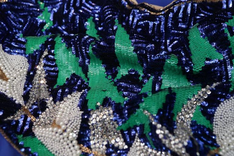 Early 1980s Pierre Balmain Haute Couture Blue Beaded Dress For Sale 4