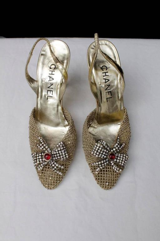 1990s Chanel Gold Tone Jewelry Slingback Shoes At 1stdibs