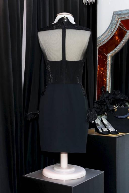 Christian Dior Black and White Cocktail Mini Dress, 1990s  In Excellent Condition For Sale In Paris, FR