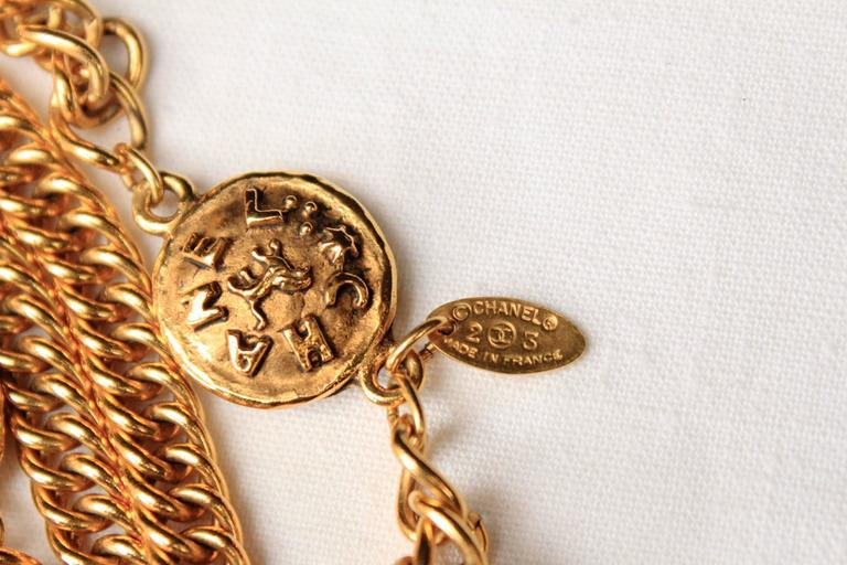 Early 1990s Chanel Gilt Long Necklace with Medallions For Sale 3