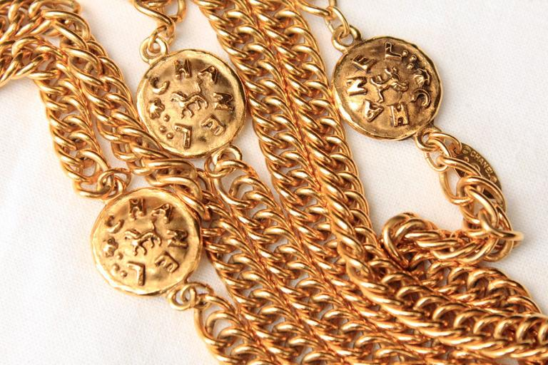 Early 1990s Chanel Gilt Long Necklace with Medallions For Sale 1